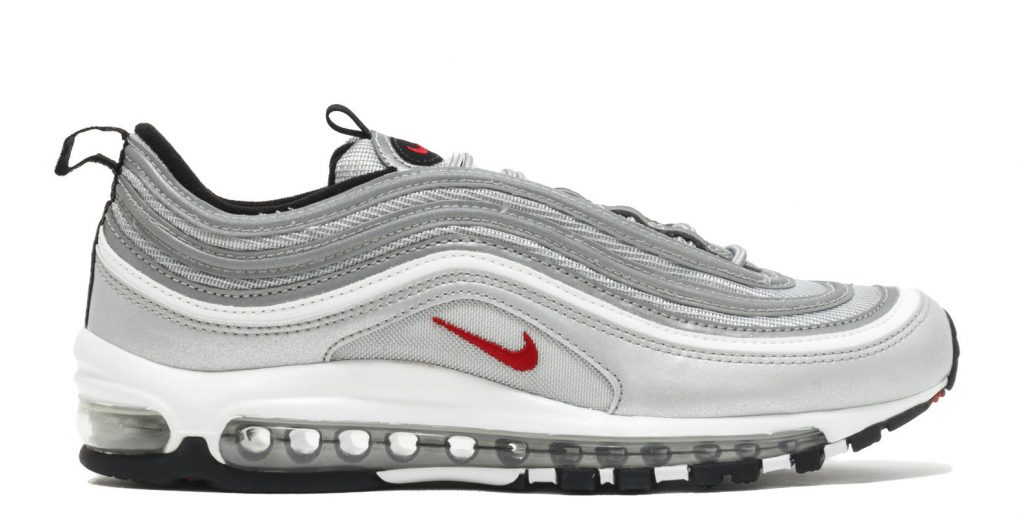 """fce4ed9989 Nike Air Max 97 """"Silver Bullet"""" (approx $480), available online at Flight  Club"""