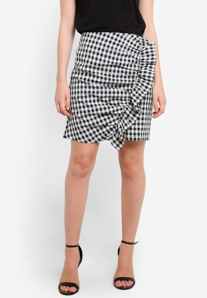 38cac12066 ... zalora collection gingham ruffle front skirt